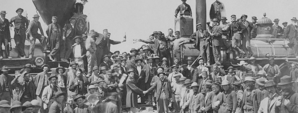 """Andrew J. Russell's """"East and West Shaking Hands at Laying of Last Rail."""""""