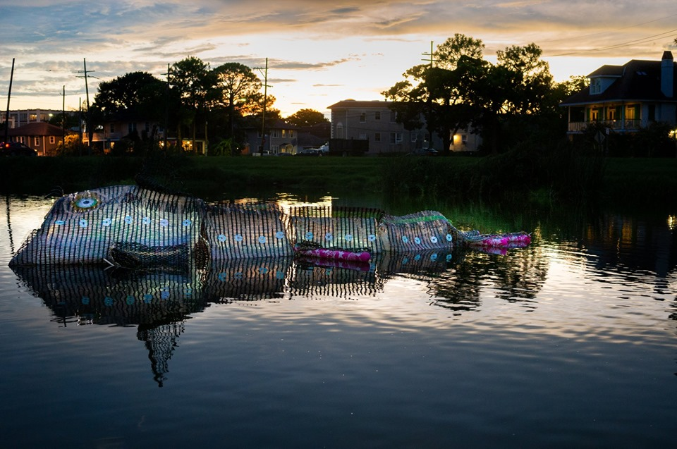 """Carole Alden led a New Orleans workshop to create """"Water Creature,"""" a floating art work."""