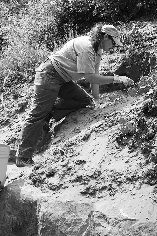 Dr. Derinna Kopp, forensic anthropologist, working in the field