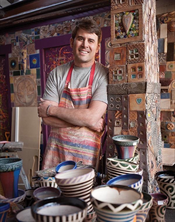 Potter Ben Behunin in his colorful Salt Lake City pottery studio
